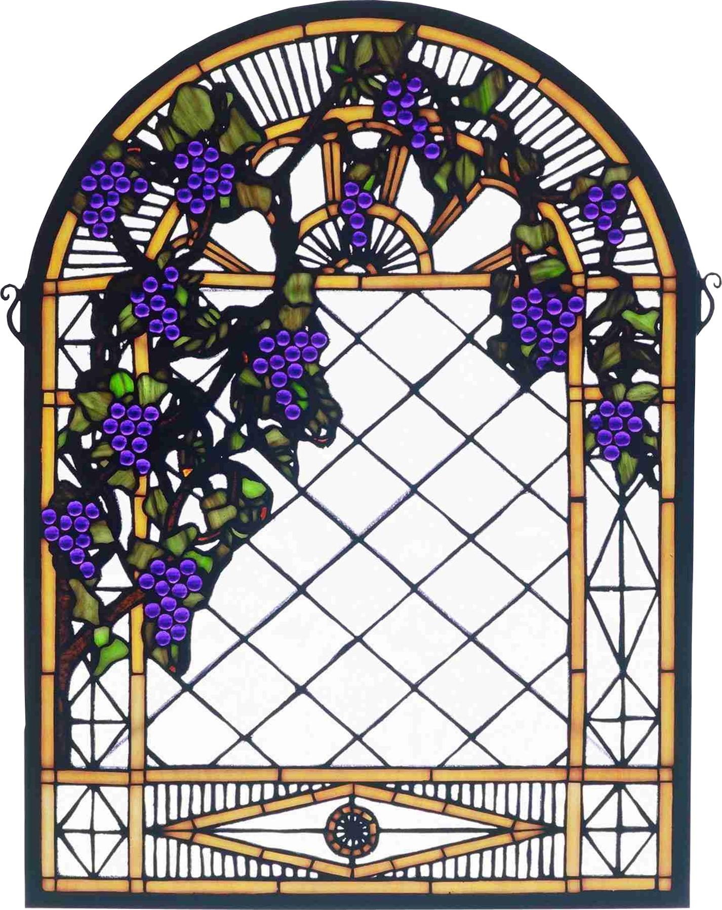 Grape Diamond Trellis Stained Gl Window