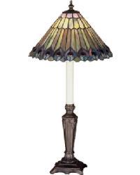 Tiffany Jeweled Peacock Buffet Lamp by