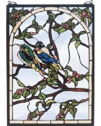 Lovebirds Stained Glass Window by