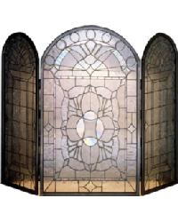 Beveled Glass Clear Folding Fireplace Screen by