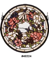Wreath Garland Medallion Stained Glass Window by