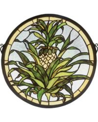Welcome Pineapple Medallion Stained Glass Window by