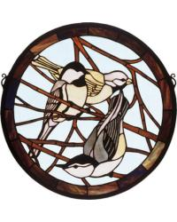 Early Morning Visitors Medallion Stained Glass Window by
