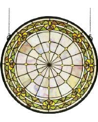 Fleur-De-Lis Medallion Stained Glass Window by