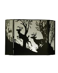 Deer On The Loose Folding Fireplace Screen by