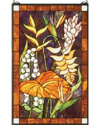 Tropical Floral Stained Glass Window by