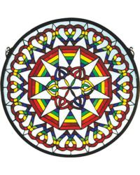 Rainbow Expression Medallion Stained Glass Window by