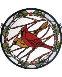 Cardinals and Holly Medallion Stained Glass Window by