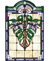 Nouveau Lily Stained Glass Window by