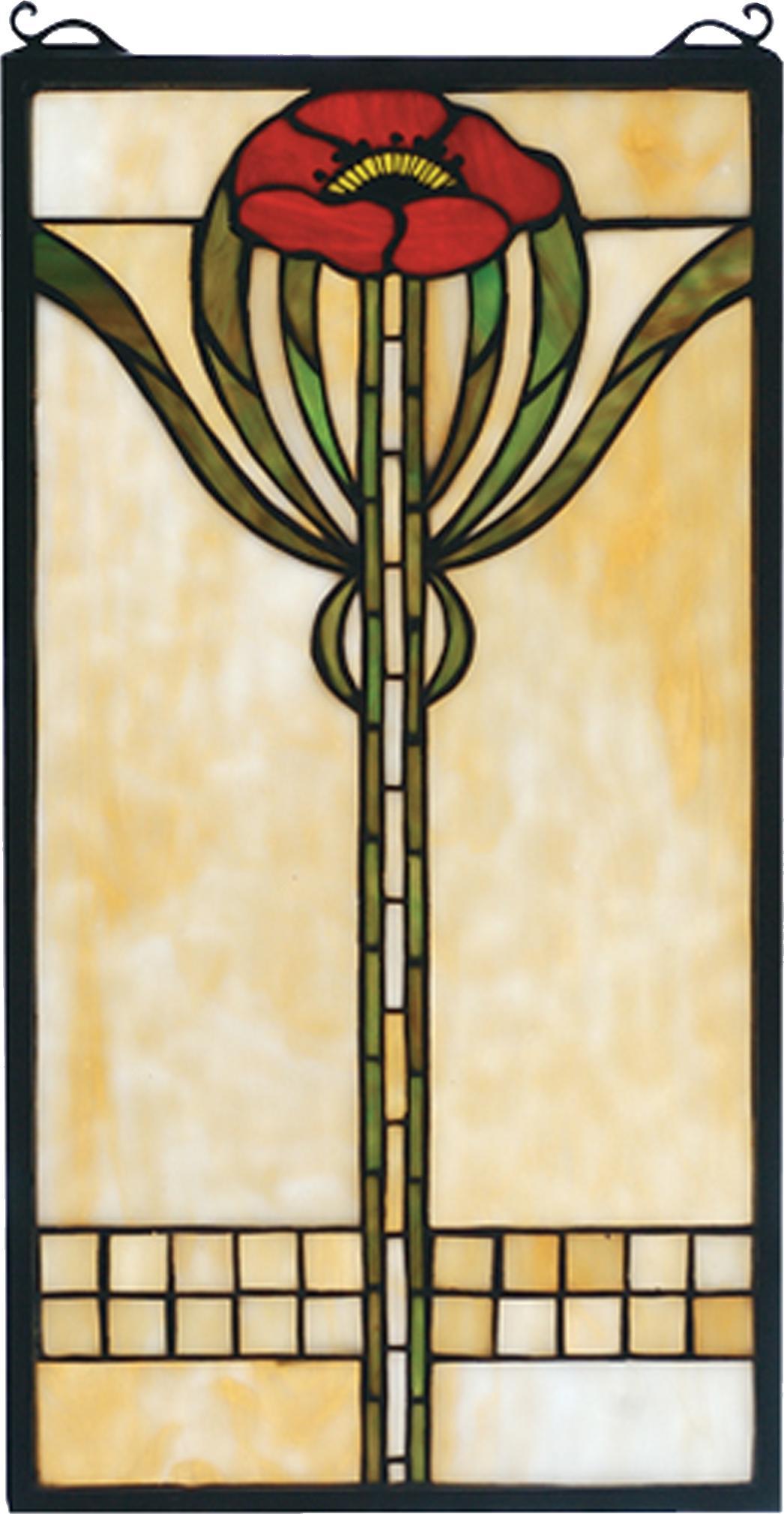 Parker Poppy Stained Glass Window Meyda Tiffany