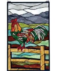 Tiffany Rooster Stained Glass Window by