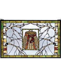 Pack Basket Stained Glass Window by