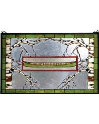 North Country Canoe Stained Glass Window by