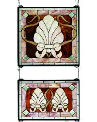 Shell And Ribbon Stained Glass Window by