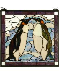 Penguin Stained Glass Window by