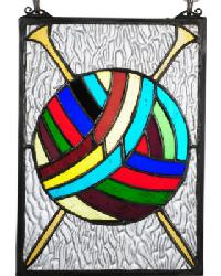 Ball Of Yarn W-Needles Stained Glass Window by