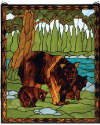 Brown Bear Stained Glass Window by