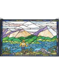 Fly Fishing Stained Glass Window by