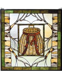 Pack Basket Stained Glass Window 73909 by