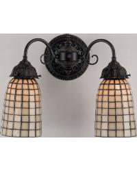 Geometric Beige 2 Lt Wall Sconce 74058 by