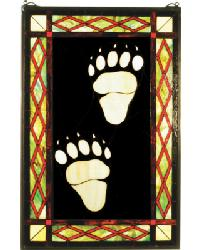 Bear Tracks Stained Glass Window by