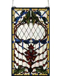 Dragonfly Allure Stained Glass Window by
