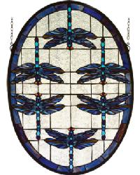 Dragonflies Oval Stained Glass Window by
