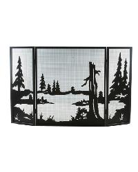 Quiet Pond Folding Fireplace Screen by