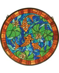Koi Pond Lily Stained Glass Window by