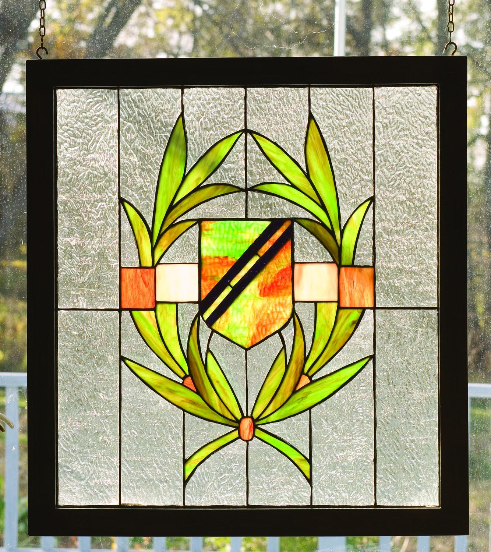 shield wood frame stained glass window meyda