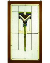 Prairie Wood Frame Stained Glass Window by