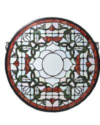 Tulip Bevel Medallion Stained Glass Window by