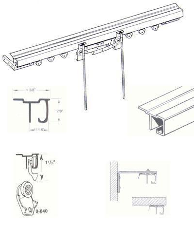 Graber Baton Draw w/Return Extender Set White Ceiling Track