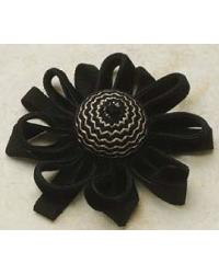 Velvet Chevron Button Black and Cream by