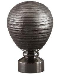 Contour Striated BallCurtain Rod Finial - Brushed Black Nickel by
