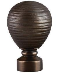 Contour Striated Ball Curtain Rod Finial - Brushed Bronze by