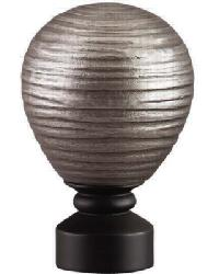 Contour Striated Ball Curtain Rod Finial - Brushed Nickel Matte Black by