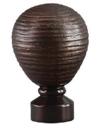 Contour Striated Ball Curtain Rod Finial - Oil Rubbed Bronze by