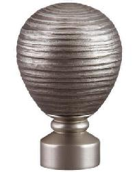 Contour Striated Ball Curtain Rod Finial - Satin Nickel by