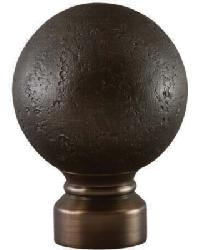 Rustic Forged Ball Curtain Rod Finial - Brushed Bronze by