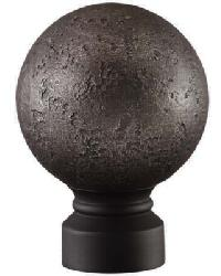 Rustic Forged Ball Curtain Rod Finial - Matte Black by