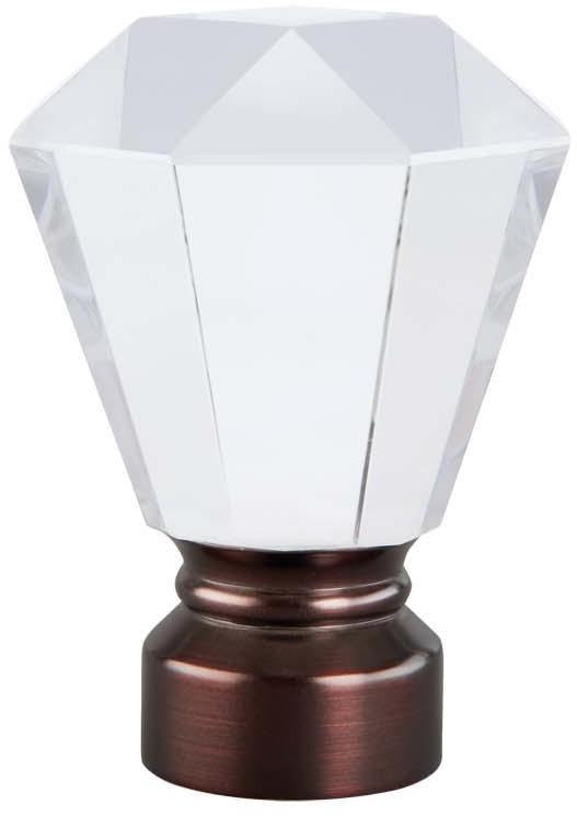 Deco Glass Trumpet Curtain Rod Finial Oil Rubbed Bronze
