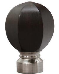 Carved Facet Ball Curtain Rod Finial - Brushed Nickel by