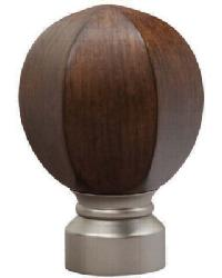 Carved Facet Ball Curtain Rod Finial - Satin Nickel by