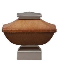 Craftsman Wood Square Curtain Rod Finial - Satin Nickel by