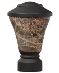 Fluted Stone Trumpet Curtain Rod Finial - Matte Black by
