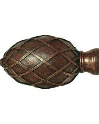Basket Weave Egg Curtain Rod Finial 1 3/8 inch by