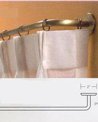 Beige Single Double Triple Curtain Rods Decorative Curved Rod
