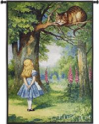 Alice and the Cheshire Cat Wall Tapestry by