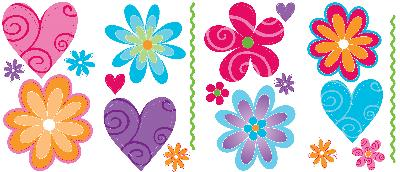Blue Mountain Wallcovering Flirty Flowers - Room Appliques  Baby/Nursery Wallpaper